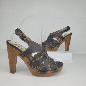 L.E.I Brown Beth High Heel Criss Cross Sandal, 8